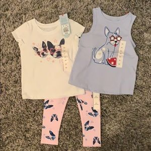 NWT Cat & Jack 2T 2 tops and leggings